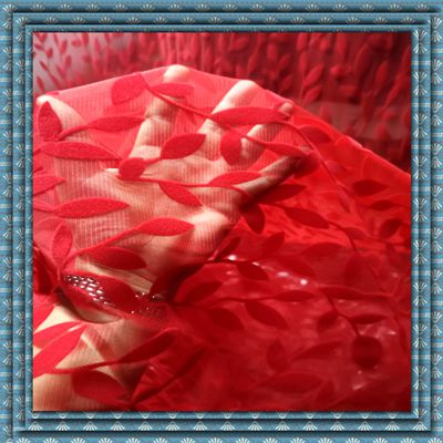 Fancy Net Polyester Mesh Fabric Flocking Fashion Tulle Fabric
